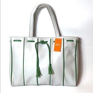 latico NJ White Green Leather Tote Handbag